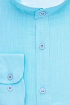シャツ、詳細なクローズアップの襟と袖口、上面図