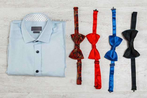 Shirt and different bow ties