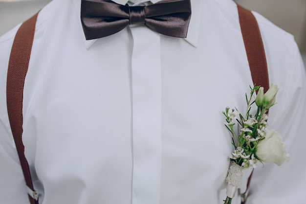 Shirt with flowers in pocket