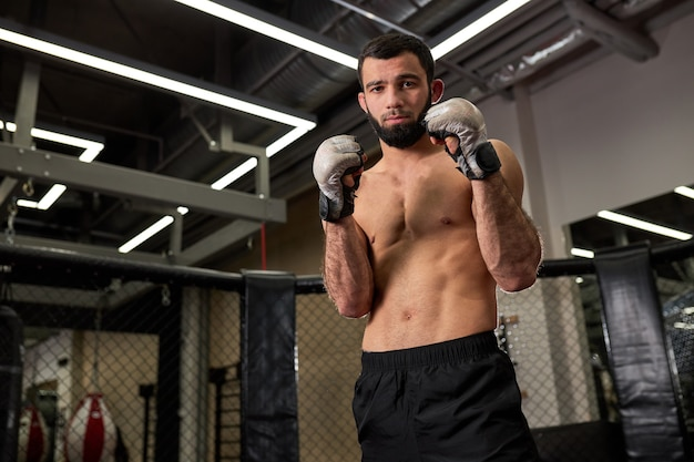 Shirtless confident adult male boxer stand in pose, performs exercises in ring in gym. boxer's workout. sport and motivation concept