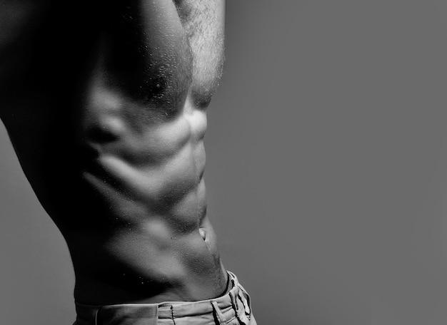 上半身裸の男。裸の胴体を持つ筋肉のセクシーな男。セクシーな体を持つ筋肉質の男。黒、白。