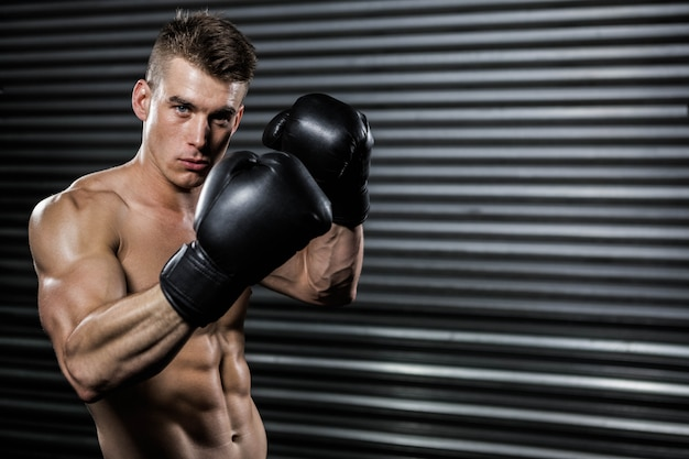 Shirtless man with boxing gloves at the  gym