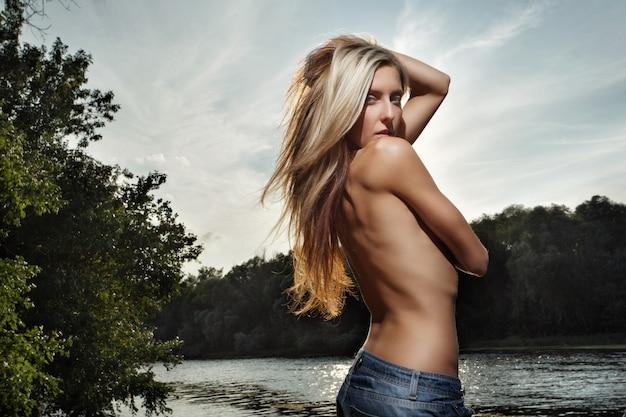 Shirtless woman