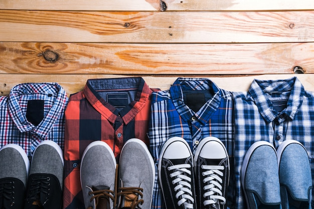 Shirts plaid in plan with wooden