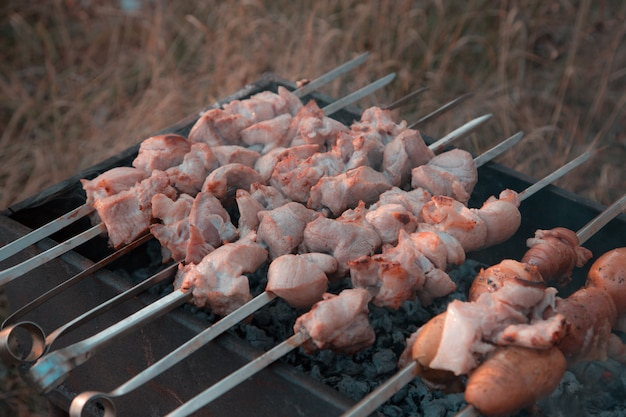 Shish kebab fried on grill. pork shish kebab fried on skewer grill in the park