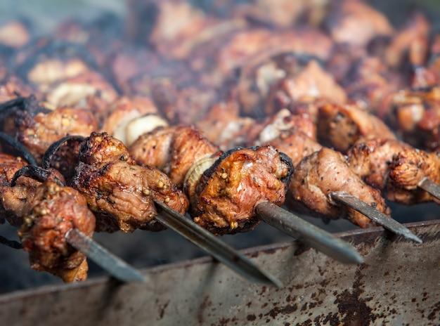향신료가 섞인 돼지고기의 시시 케밥