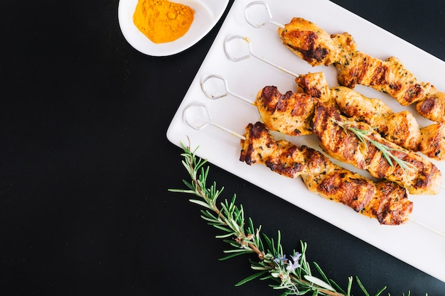 Shish kebab and rosemary