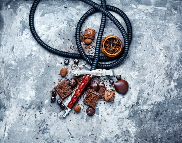 Shisha hookah with chocolate