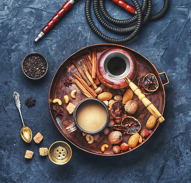 Shisha with coffee and spices