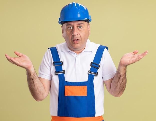 L'uomo adulto scioccato del costruttore in uniforme tiene le mani aperte isolate sulla parete verde oliva