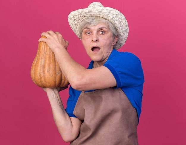 Il giardiniere femminile anziano scioccato che indossa il cappello da giardinaggio tiene la zucca