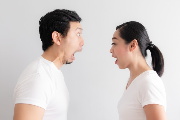 Shocked and surprised face of asian couple lover.