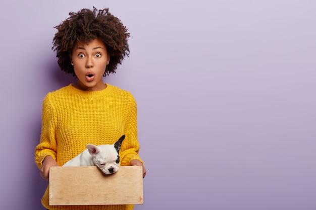 La donna scioccata trova un cane malato