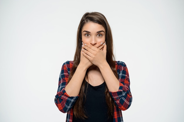 Shocked woman shut mouth, look startled