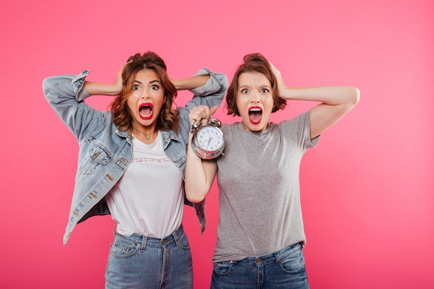 Shocked women friends holding alarm.