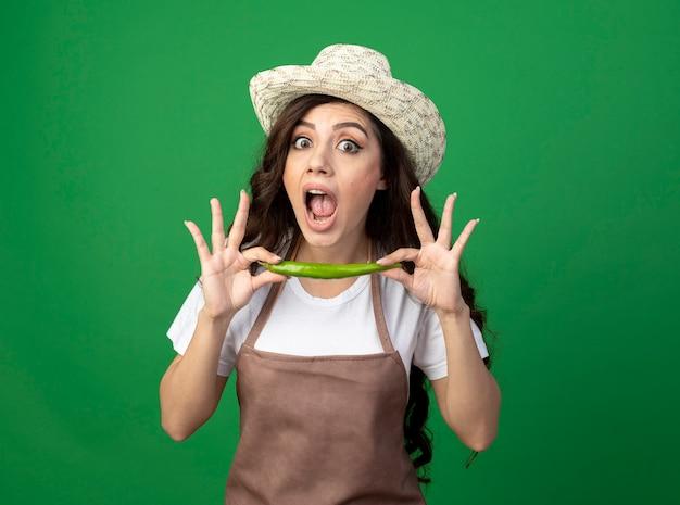 Il giovane giardiniere femminile scioccato in cappello da giardinaggio d'uso uniforme tiene il peperoncino isolato sulla parete verde