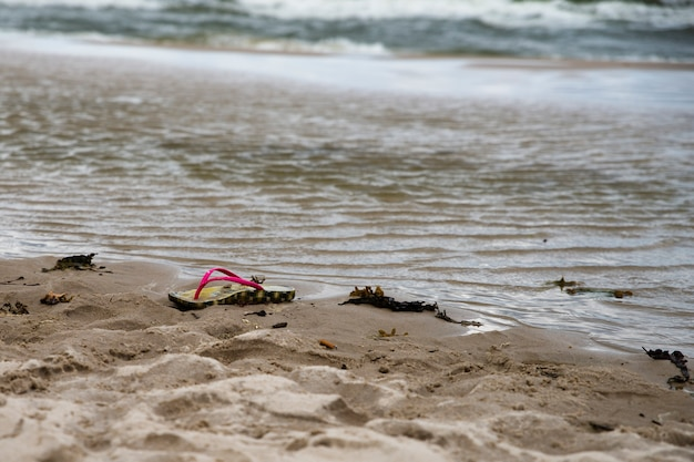 Shoe on the beach, drowning person