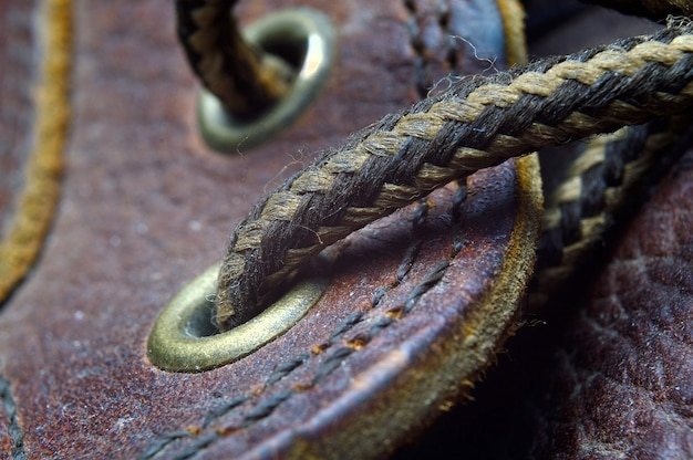 Shoelaces on shoes close up