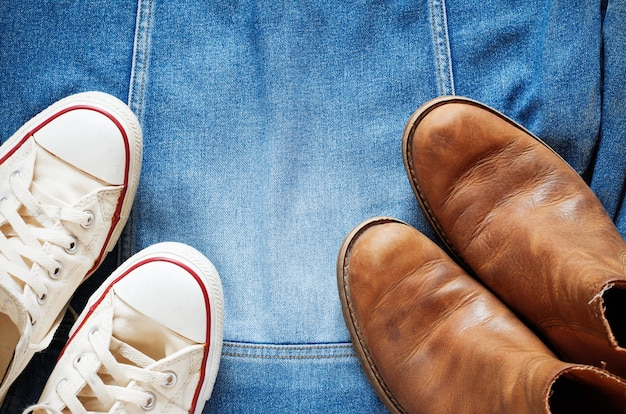Shoes on a denim jacket.