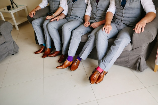 Shoes groom and his friends at the wedding