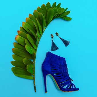 Shoes heels and jewelry. stylish minimal design. fashion concept