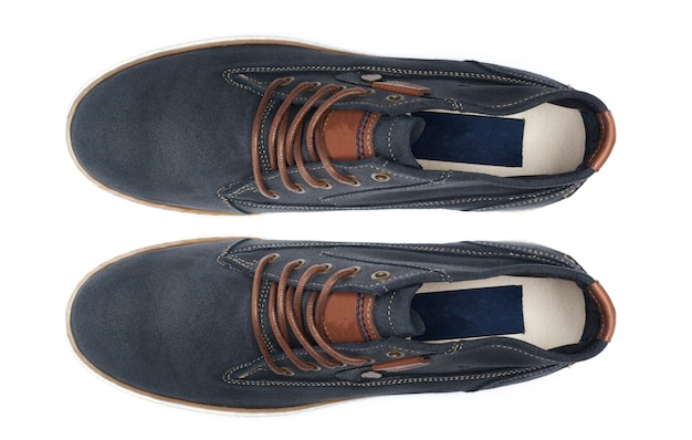 Shoes isolated. top view.