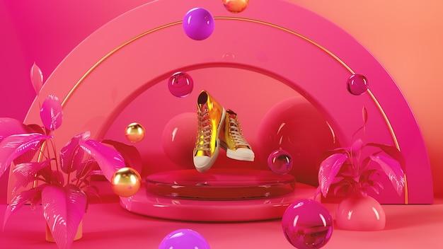 Shoes on pink stage 3d illustration render