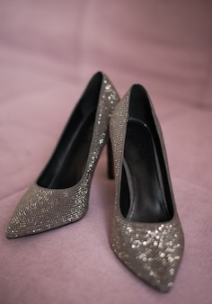 Shoes silver black gray color. shiny heels