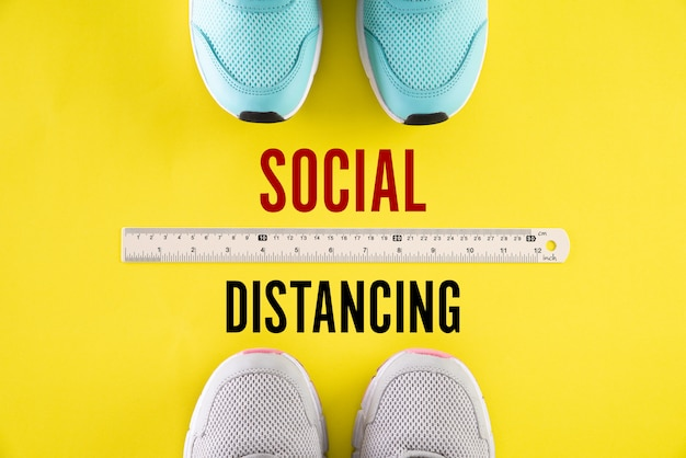 Shoes with ruler by using social distancing concept