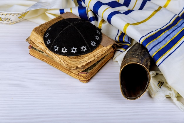 Shofar ram's horn on a synagogue alter