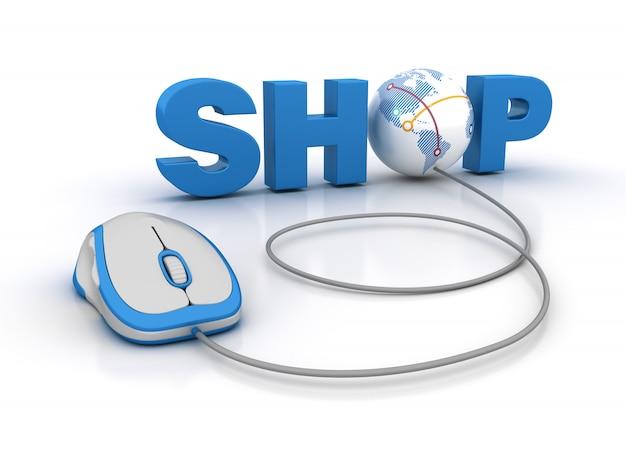 Магазин 3d word с глобусом и компьютерной мышью
