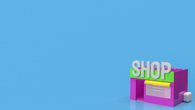 The shop on blue background for business concept 3d rendering