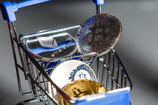 Shop trolley for purchases with bitcoins. cryptocurrency bitcoin