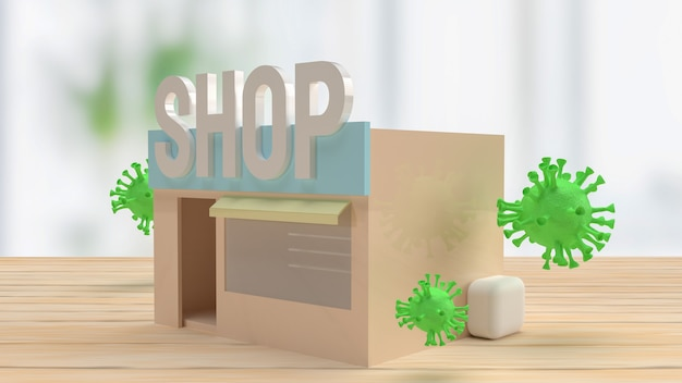 The shop and virus on table for medical or business concept 3d rendering