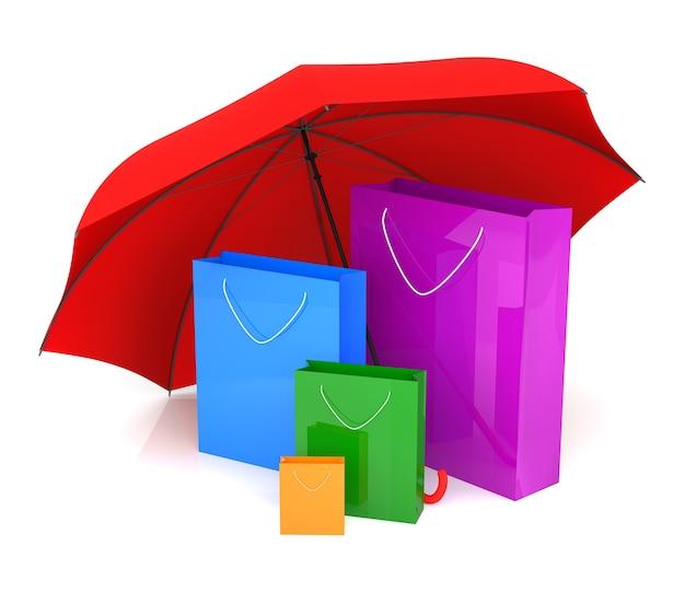 Сумка для покупок и красный зонтик. 3d-рендеринг