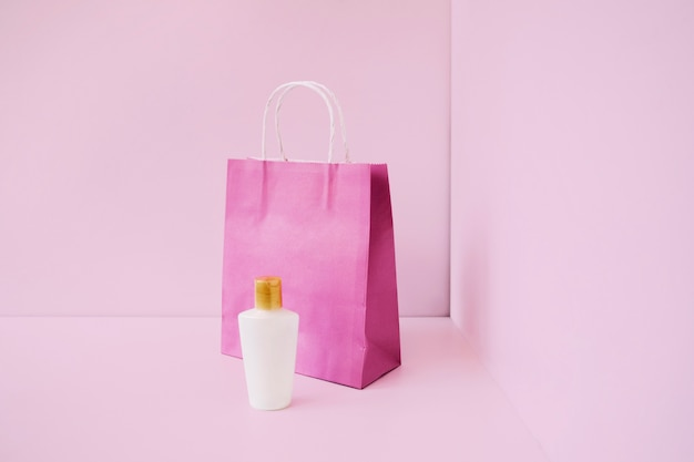 Shopping bag and beauty plastic bottle
