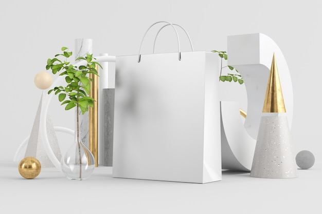 Shopping bag on minimal abstract background mock up 3d rendering