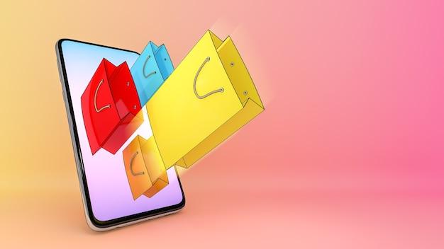 携帯電話から排出された買い物袋。、オンラインモバイルアプリケーション注文輸送サービスとオンラインショッピングと配信コンセプト。、3dレンダリング。