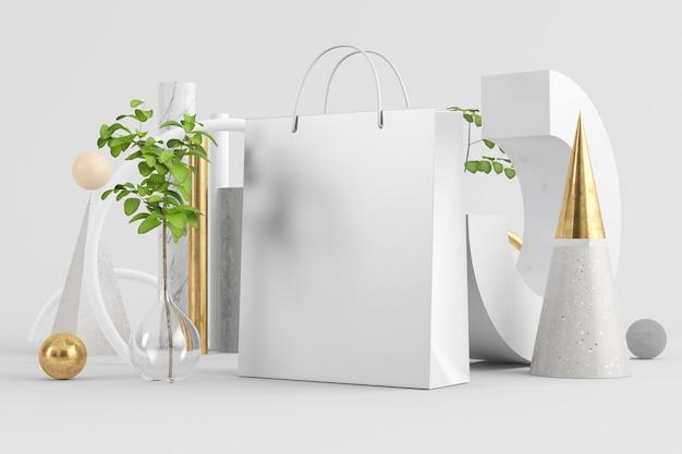 最小限の抽象的な背景のショッピングバッグは、3dレンダリングをモックアップします