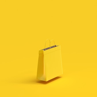 Shopping bag paper yellow color mock-up