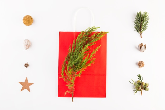 Shopping bag with coniferous branch and set of ornaments