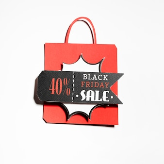 Shopping bag with discount label