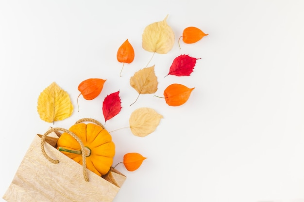 Shopping bag with dried orange flowers and autumn leaves