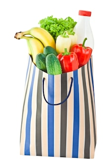Shopping bag with food isoalted on white