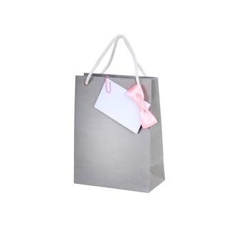 Сумка для покупок с бумажной запиской, изолированные