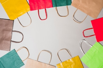 Shopping bags of different colours