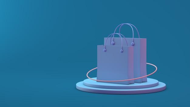 파란색 배경 3d 렌더링에 쇼핑백 또는 종이 가방