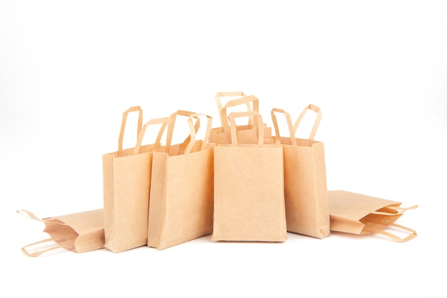 Shopping bags. sales trade, discounts. use of eco-friendly materials. zero waste. white background, isolate