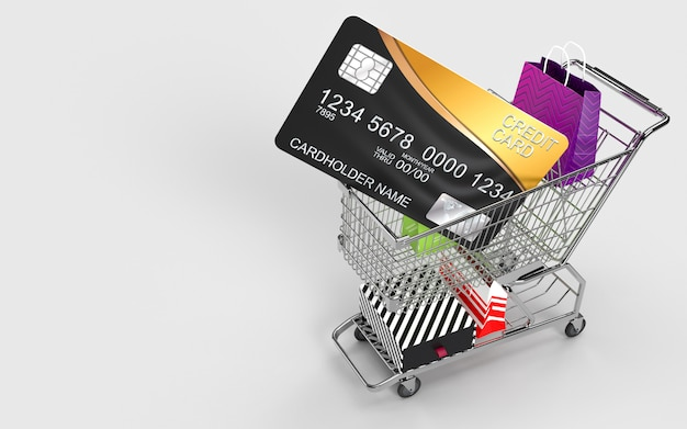 Shopping bags, shopping cart, and the credit card is an online shop store internet digital market for check out by the consumer.