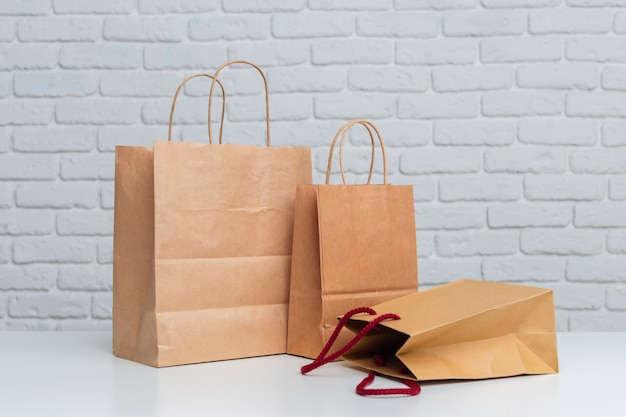 Shopping bags on table